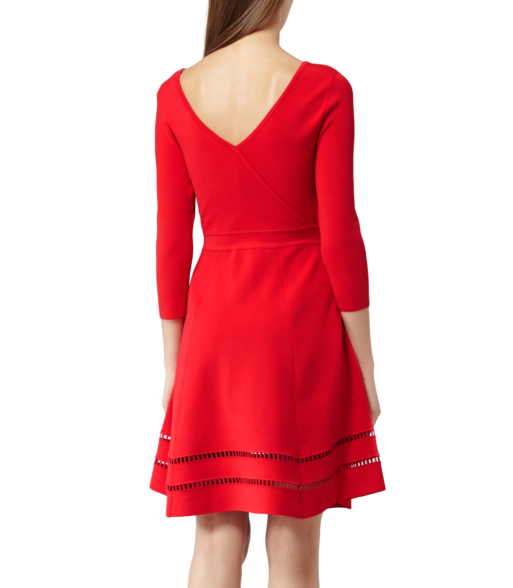 Reiss Didsbury Knitted Fit And Flare Dress In Red Lyst