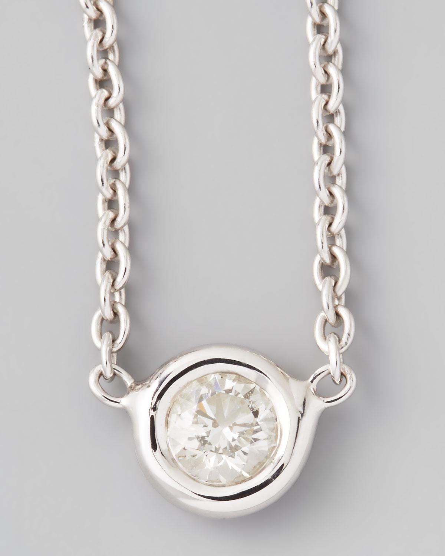 roberto coin 18k white gold single diamond necklace in. Black Bedroom Furniture Sets. Home Design Ideas