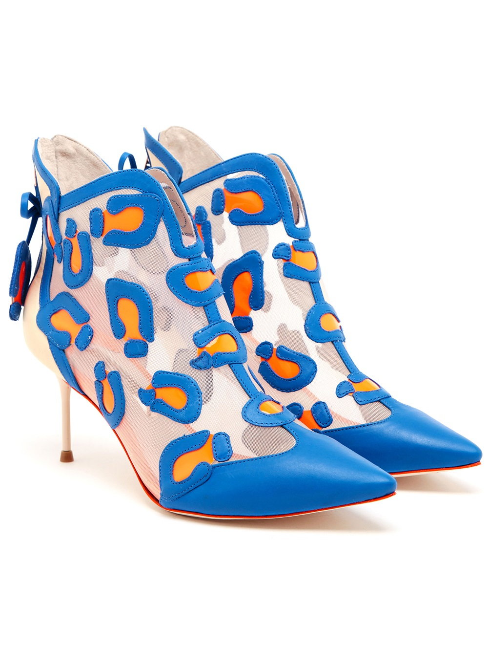 Sophia Webster Cara Leather and Mesh Ankle Boots in Yellow & Orange (Blue)