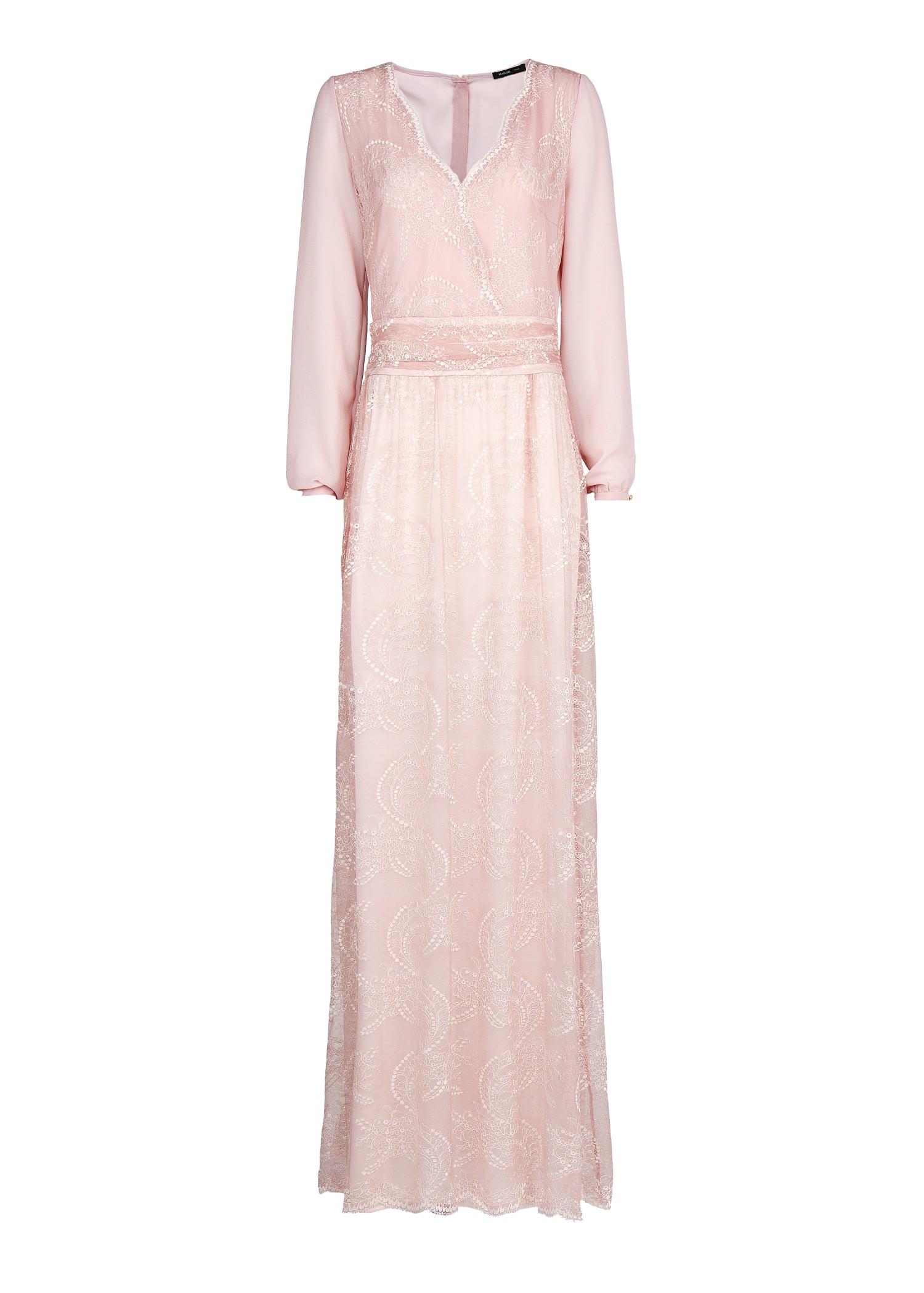Mango Lace Long Dress In Pink Pink Blush Lyst