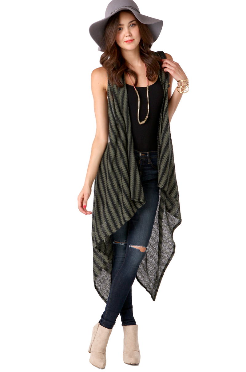Akira Long Sleeveless Cardigan in Green | Lyst