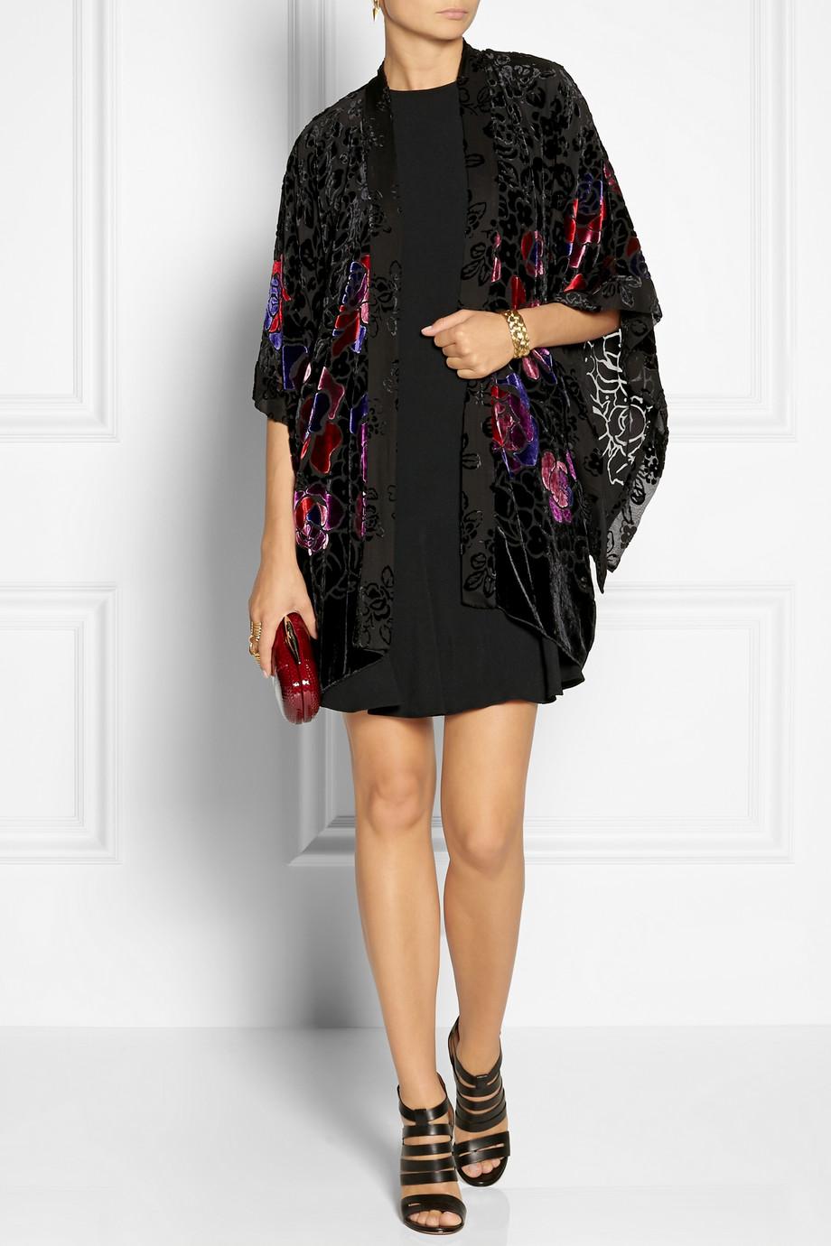 Anna Sui Rose Patterned Burnout Velvet Kimono Style Jacket