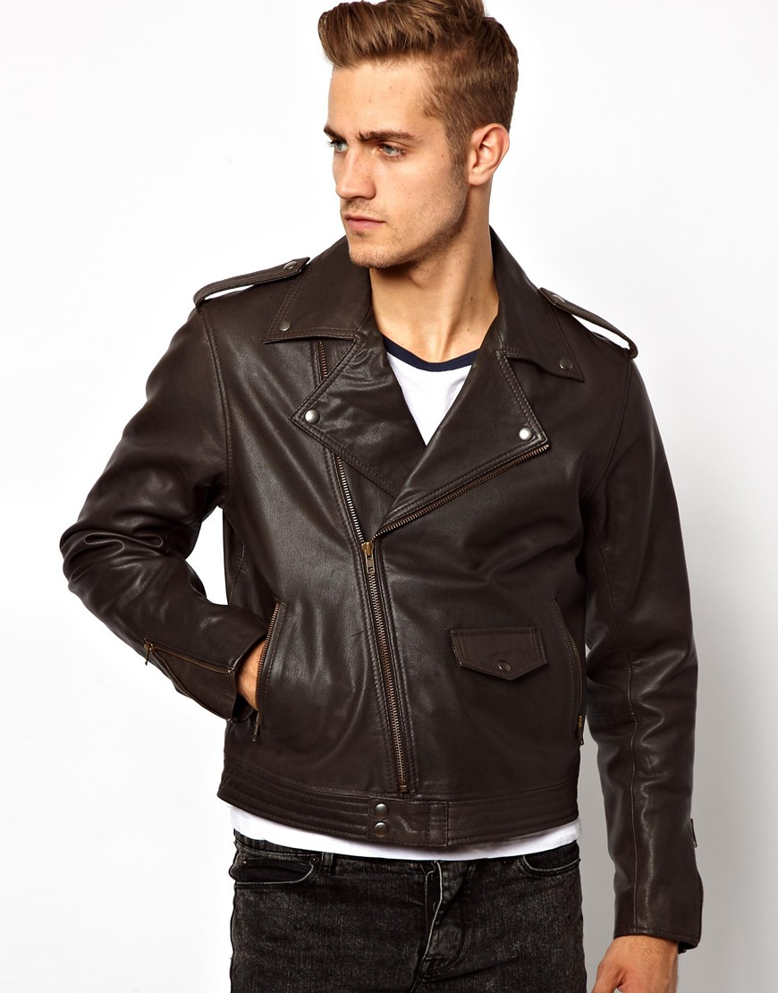 Brown leather biker jacket