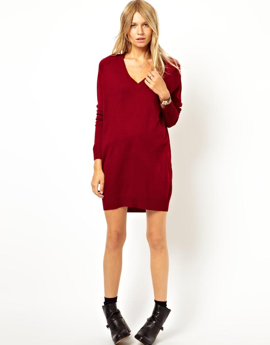 Asos Fine Knit Jumper Dress In Red Lyst