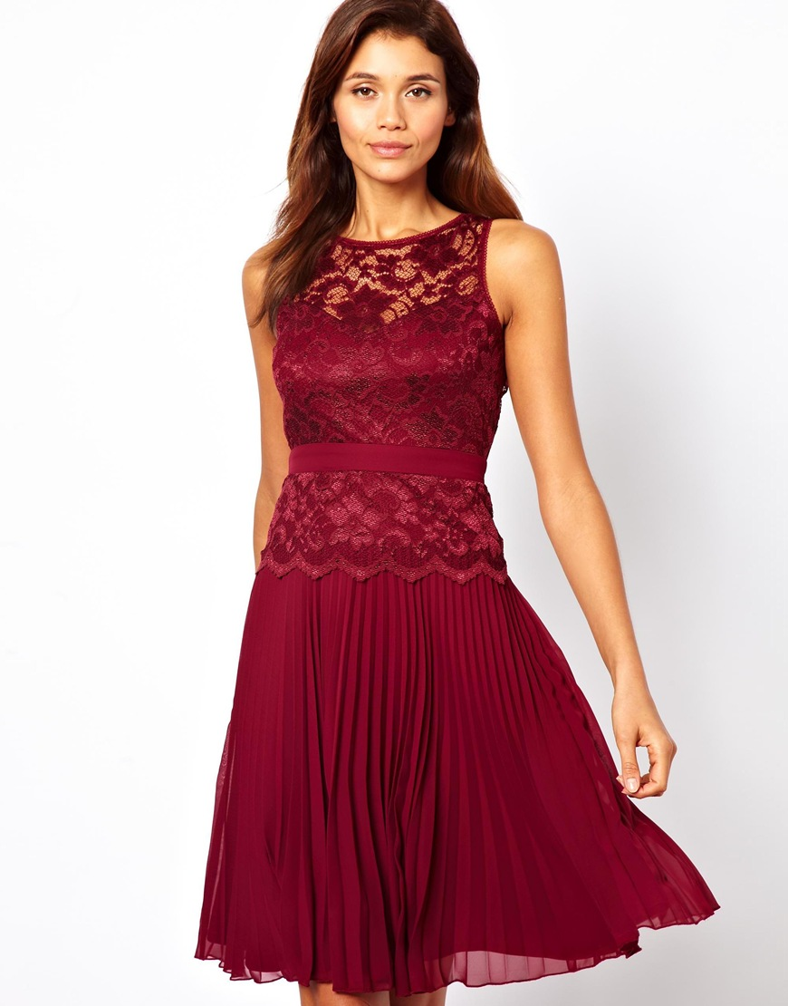 24686e20b Lulu & Co Lace Midi Skater Dress with Pleated Skirt in Purple - Lyst