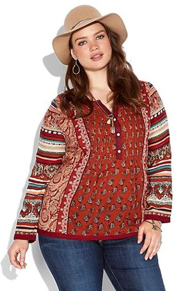 Lucky Brand Annabeth Mixed Print Top in Red (red multi)