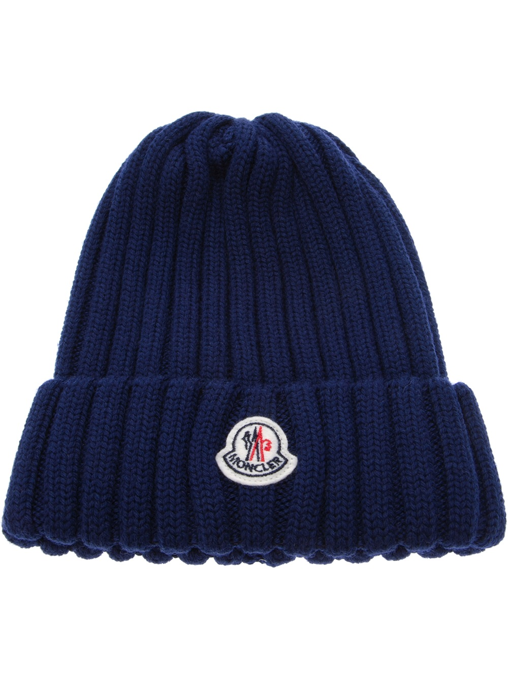 9ce1adf0a Moncler Blue Wool Ribbed Knit Beanie Hat for men