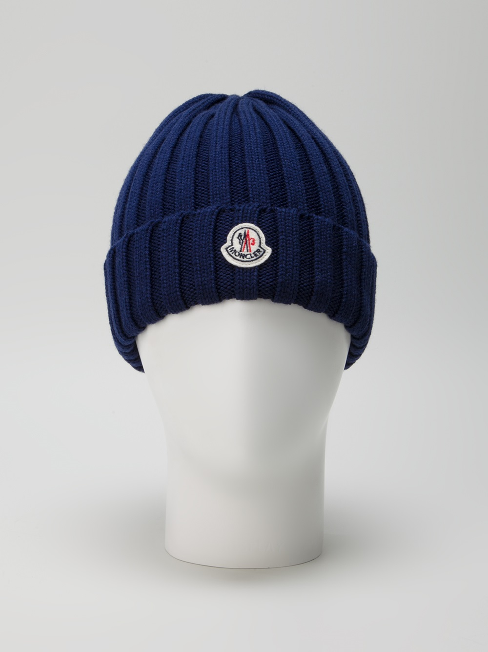 Moncler Wool Ribbed Knit Beanie Hat in Blue for Men - Lyst 257b8165ca0