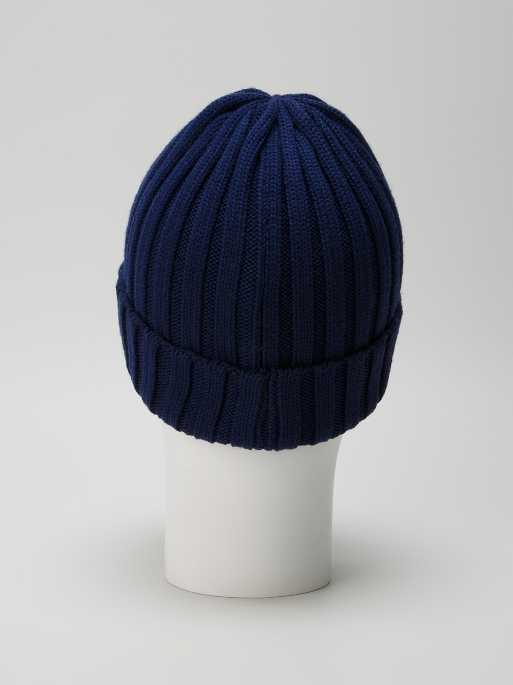 Moncler Wool Ribbed Knit Beanie Hat In Blue For Men Lyst