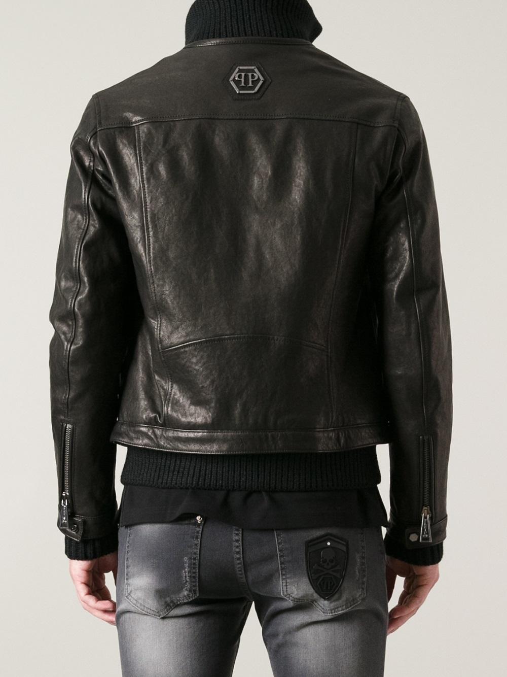 Philipp Plein Cotton Biker Jacket In Black For Men Lyst