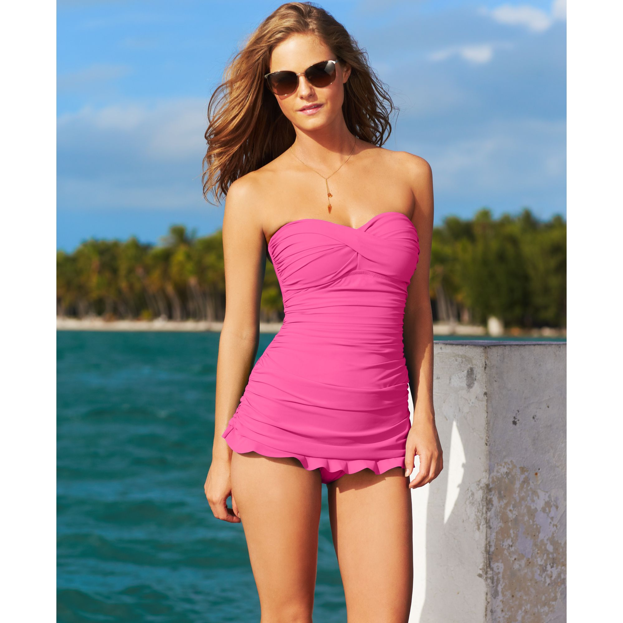 76593606bf431 Lyst - Gottex Twist Front Bandeau One-piece Swimdress in Pink
