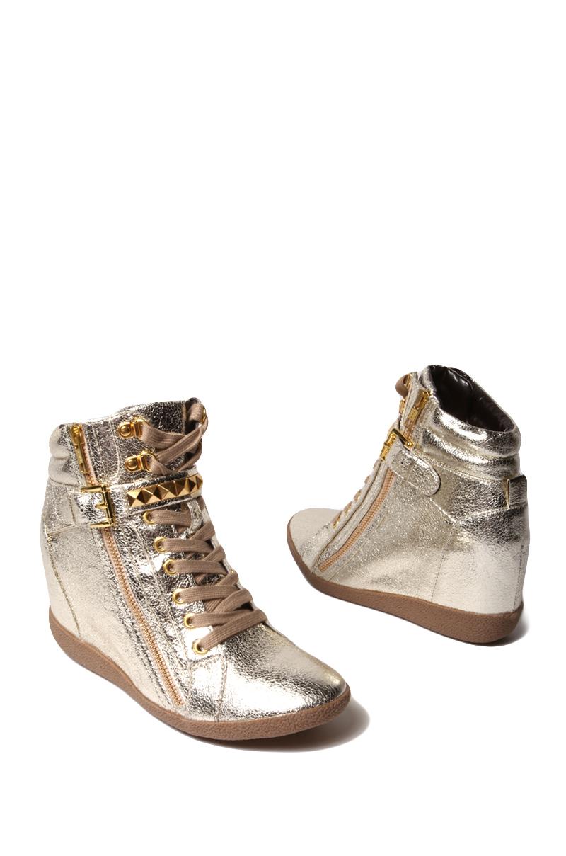 Lyst Steve Madden Huston Sneaker Wedge In Metallic