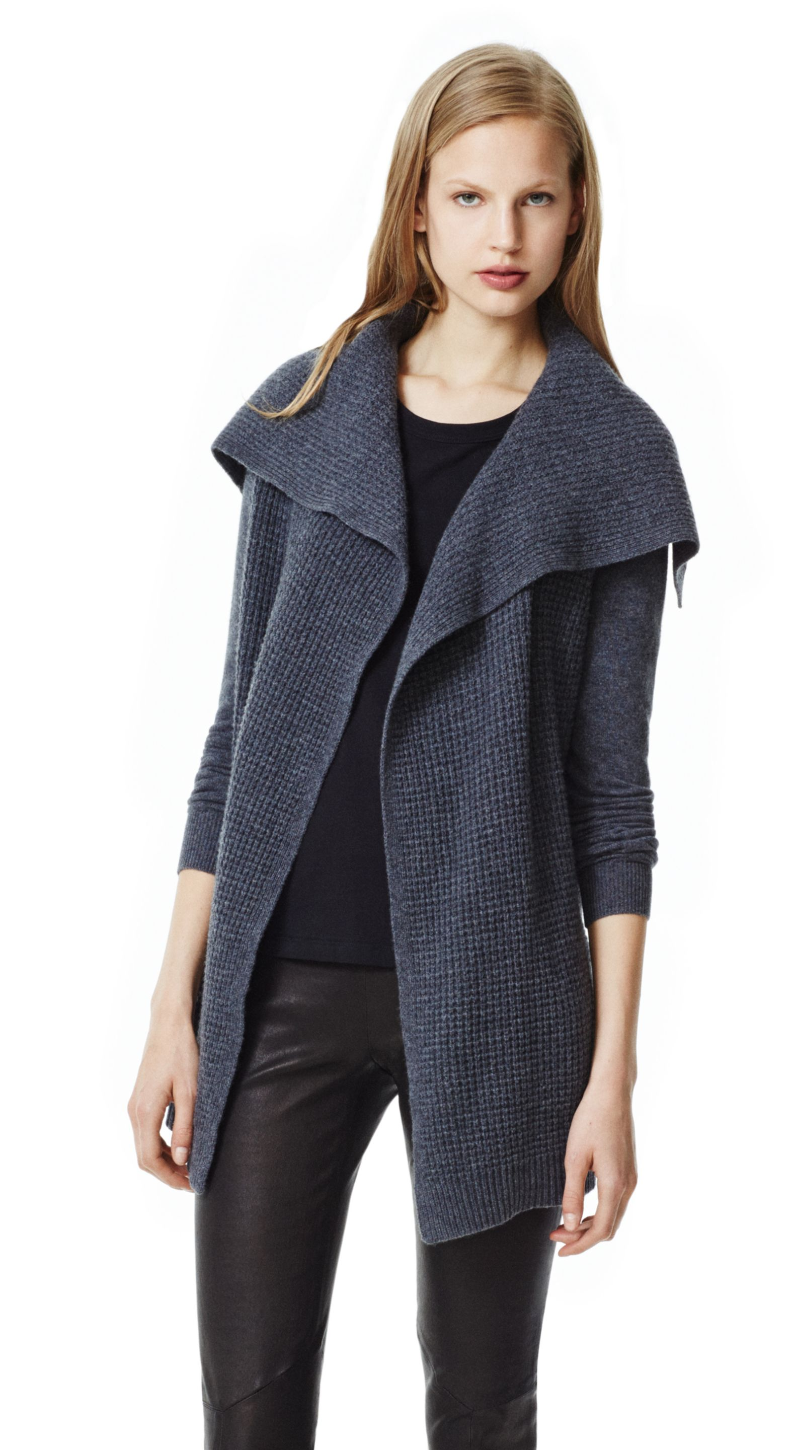 Theory Winxie D Cardigan in Cashmere in Gray | Lyst