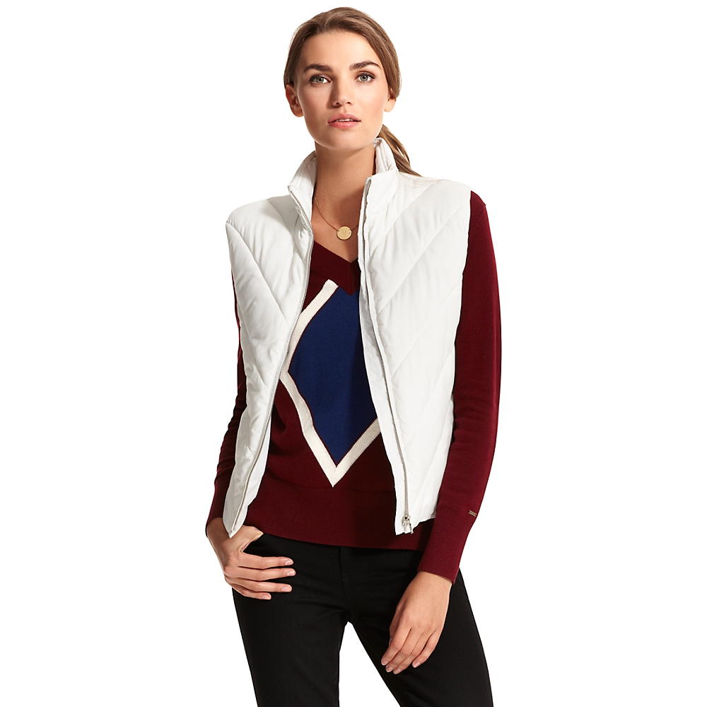 Tommy Hilfiger Solid Puffer Vest In White Essex Ivory Lyst