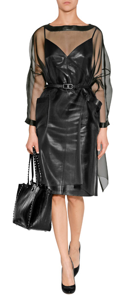 Valentino Black Silk Organza Belted Dress With Leather