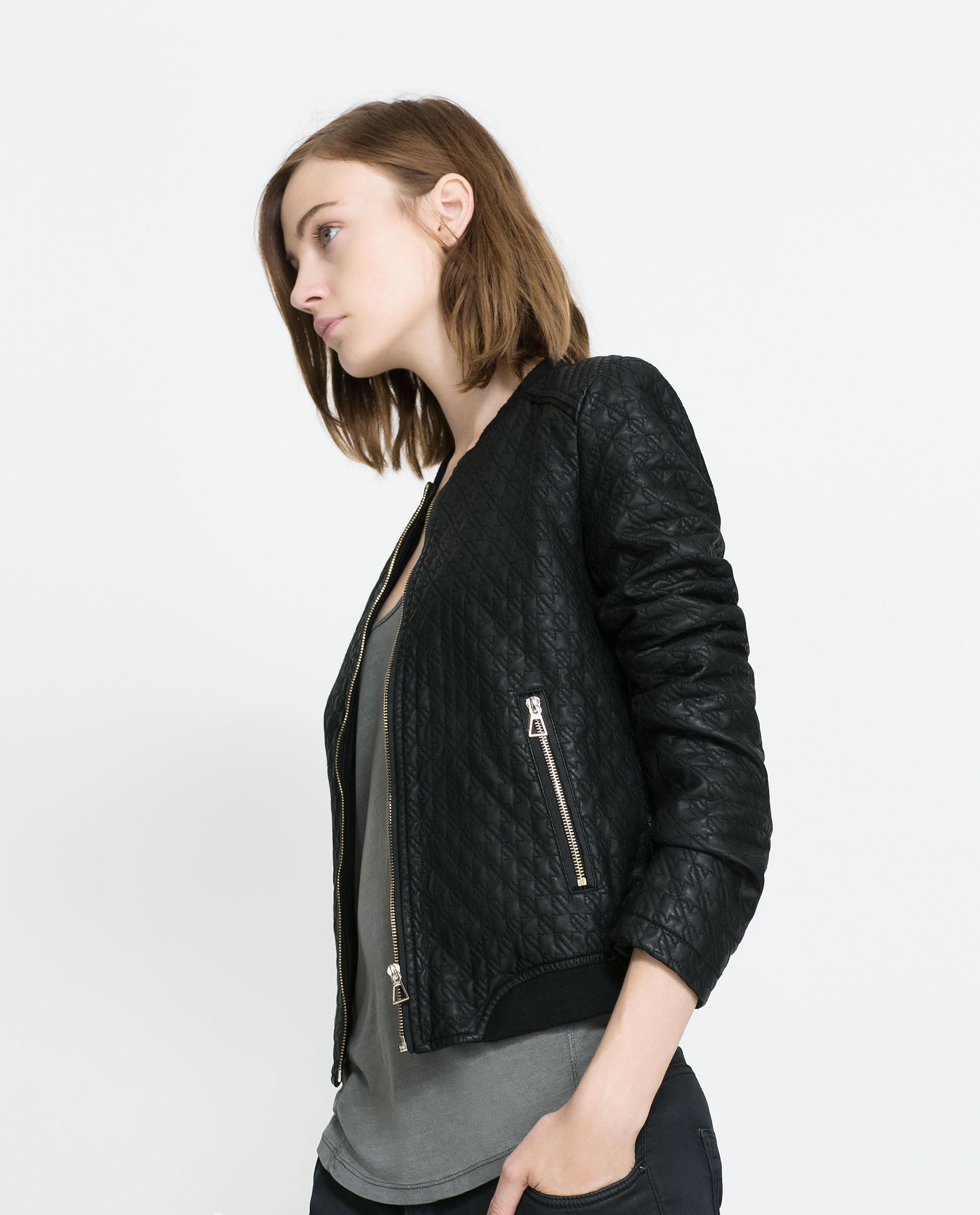 Zara leather bomber jacket