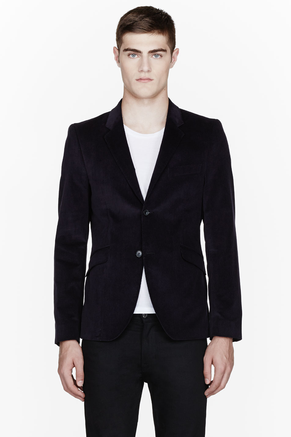 lyst acne studios navy fine corduroy wall street blazer. Black Bedroom Furniture Sets. Home Design Ideas