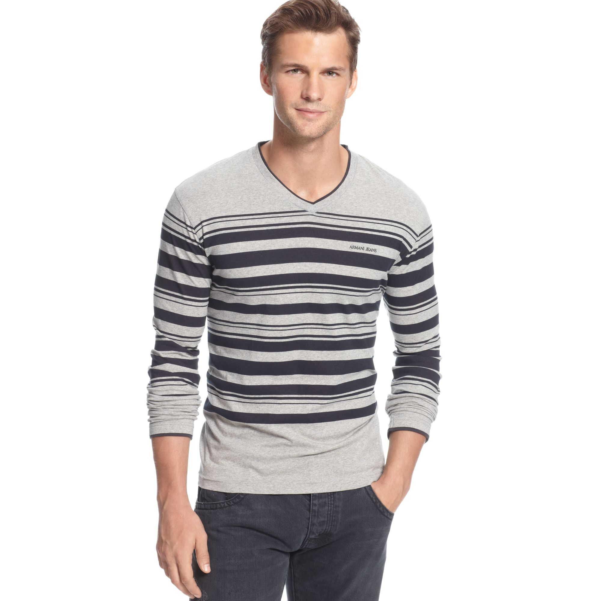 armani jeans striped vneck extra slim fit in gray for men grey black lyst. Black Bedroom Furniture Sets. Home Design Ideas