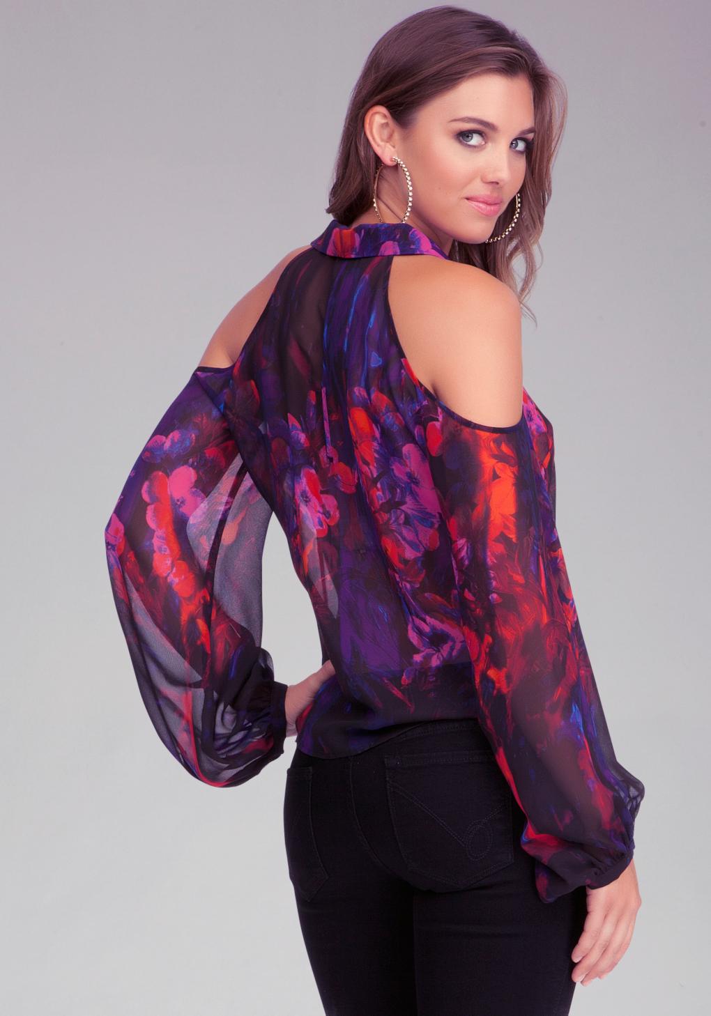 Bebe Cold Shoulder Blouse in Purple