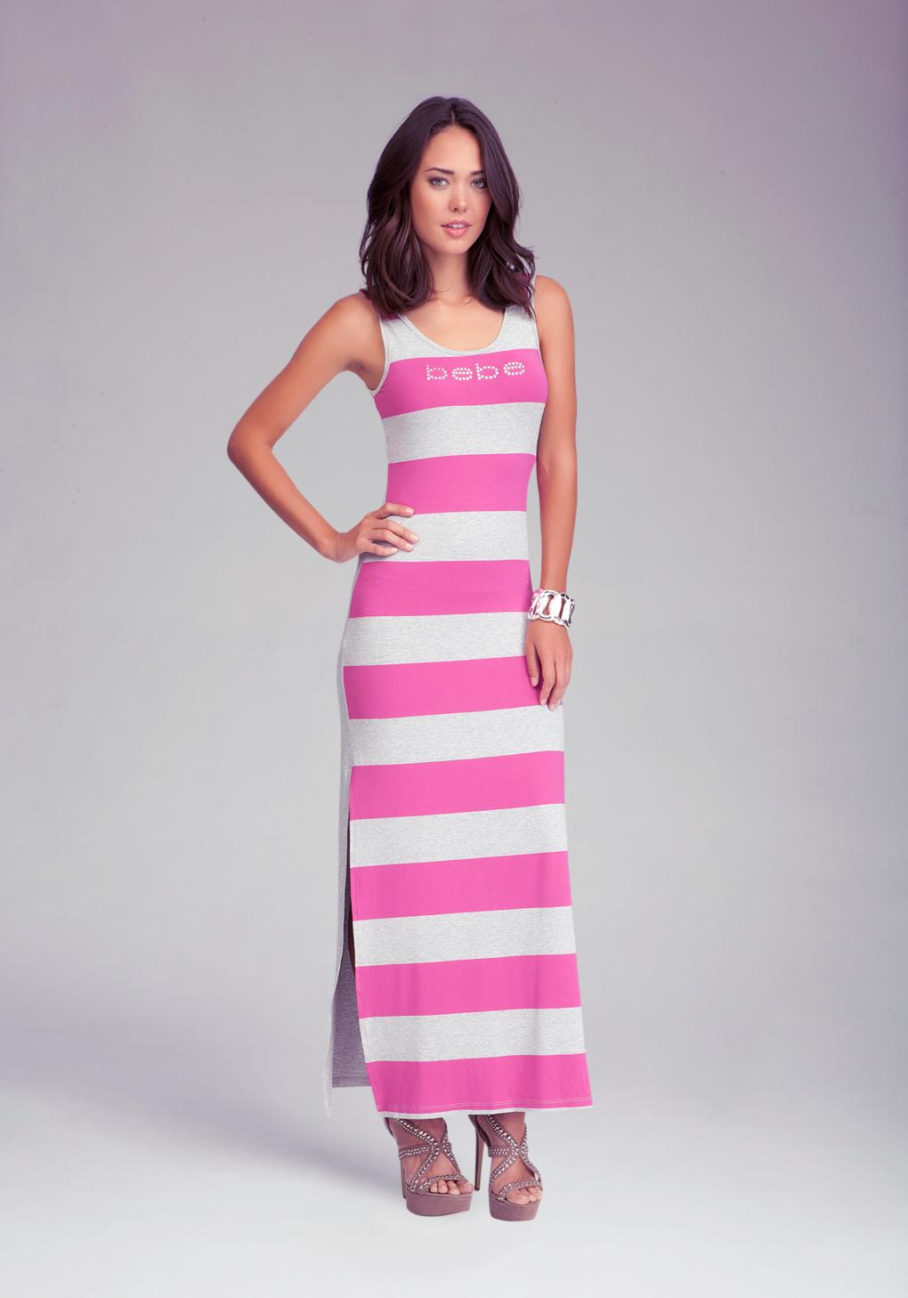Bebe Logo Stripe Slit Maxi Dress In Pink Lyst