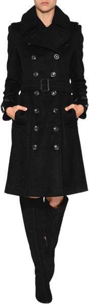 Burberry Wool Cashmere Duncannon Coat in Black