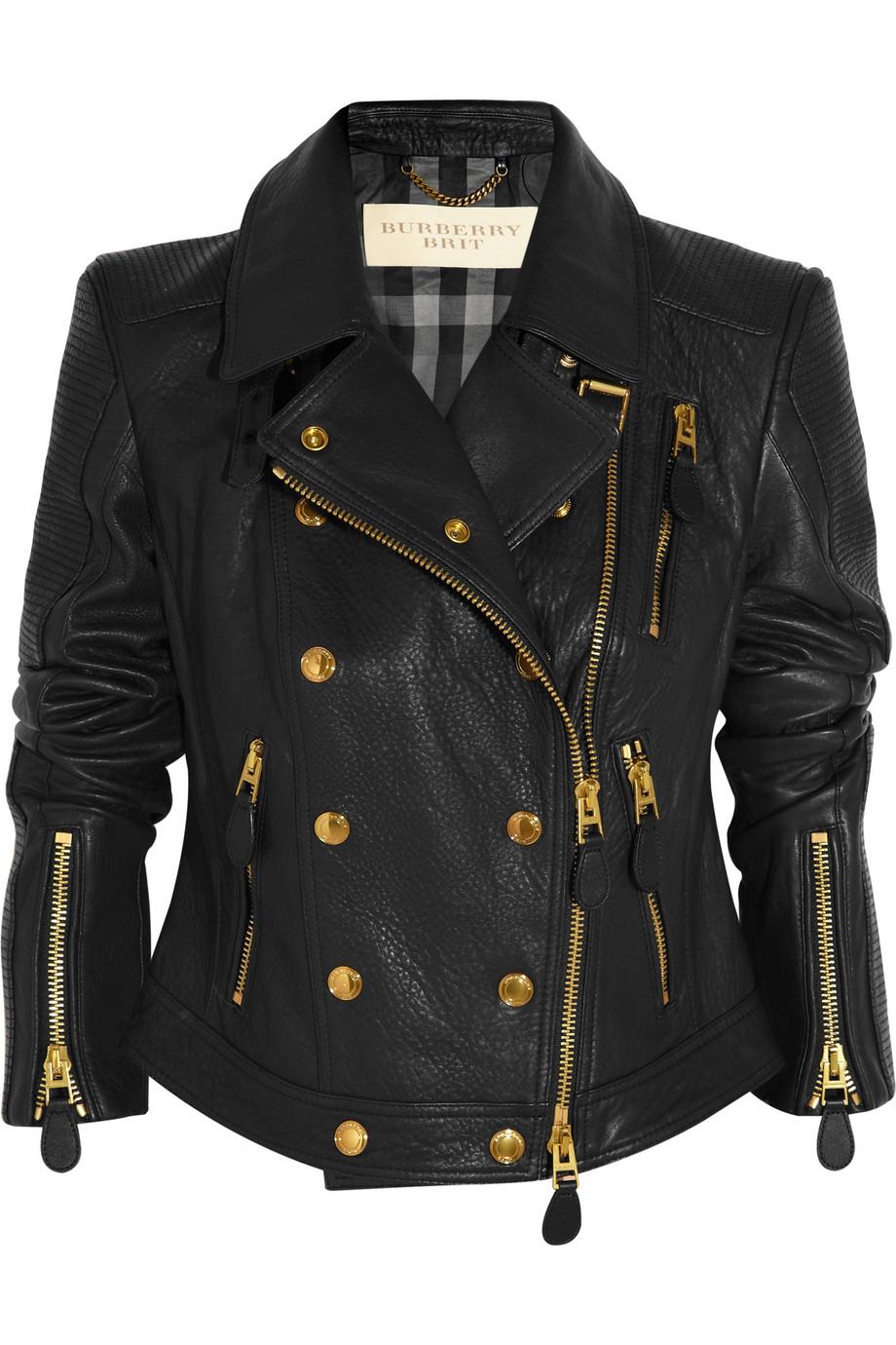 lyst burberry brit cropped textured leather biker jacket in black. Black Bedroom Furniture Sets. Home Design Ideas