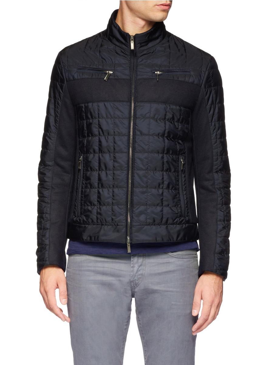 Lyst Canali Wool Felt Quilted Jacket In Blue For Men