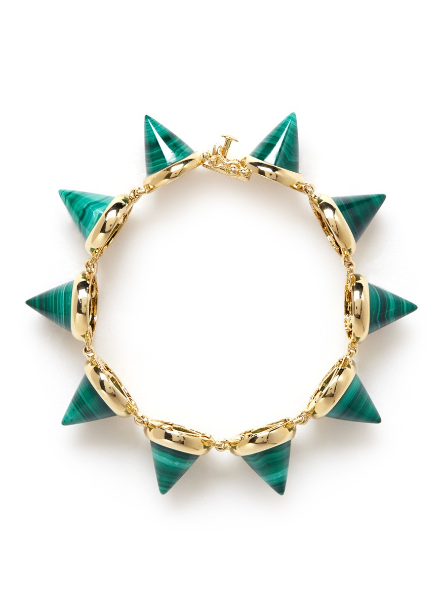 Nicole Miller Jewelry Box >> Lyst - Eddie Borgo Malachite Cone Bracelet in Green
