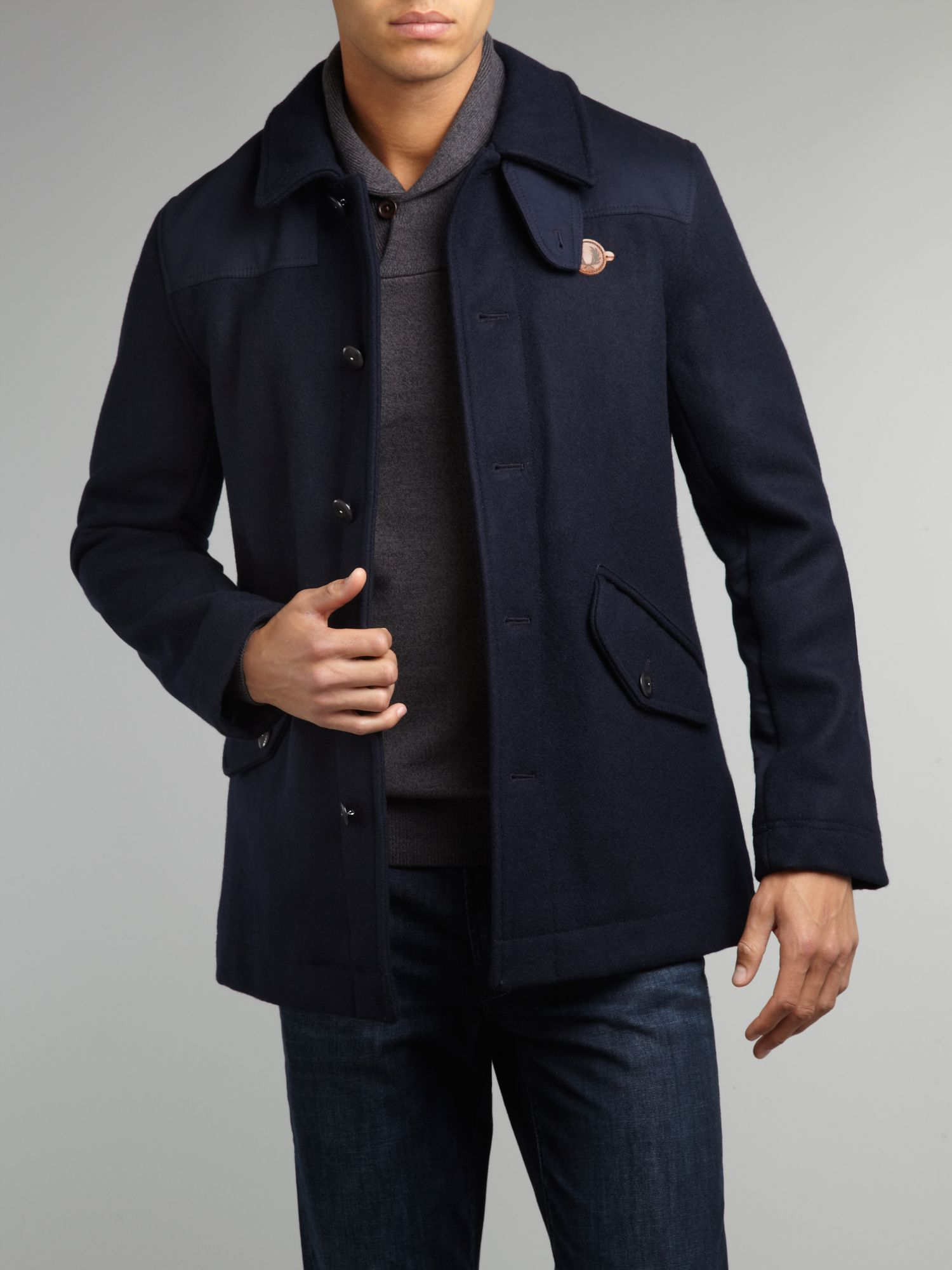 lyst fred perry donkey jacket in blue for men. Black Bedroom Furniture Sets. Home Design Ideas