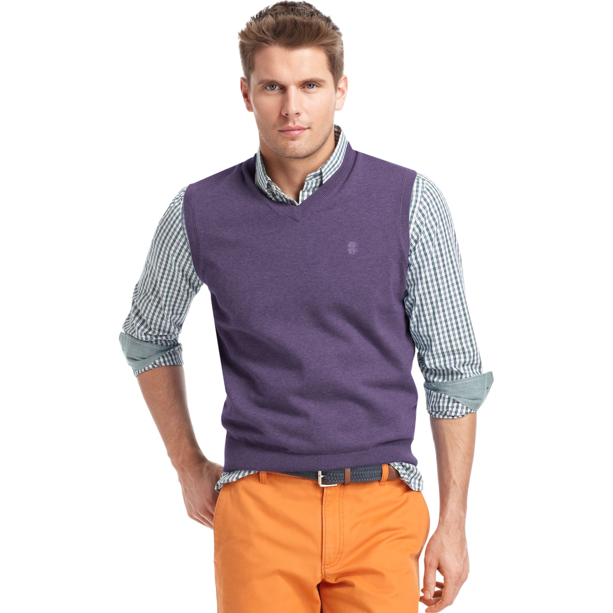 Izod Izod Sweater Vest Vneck Essential Finegauge Lightweight ...