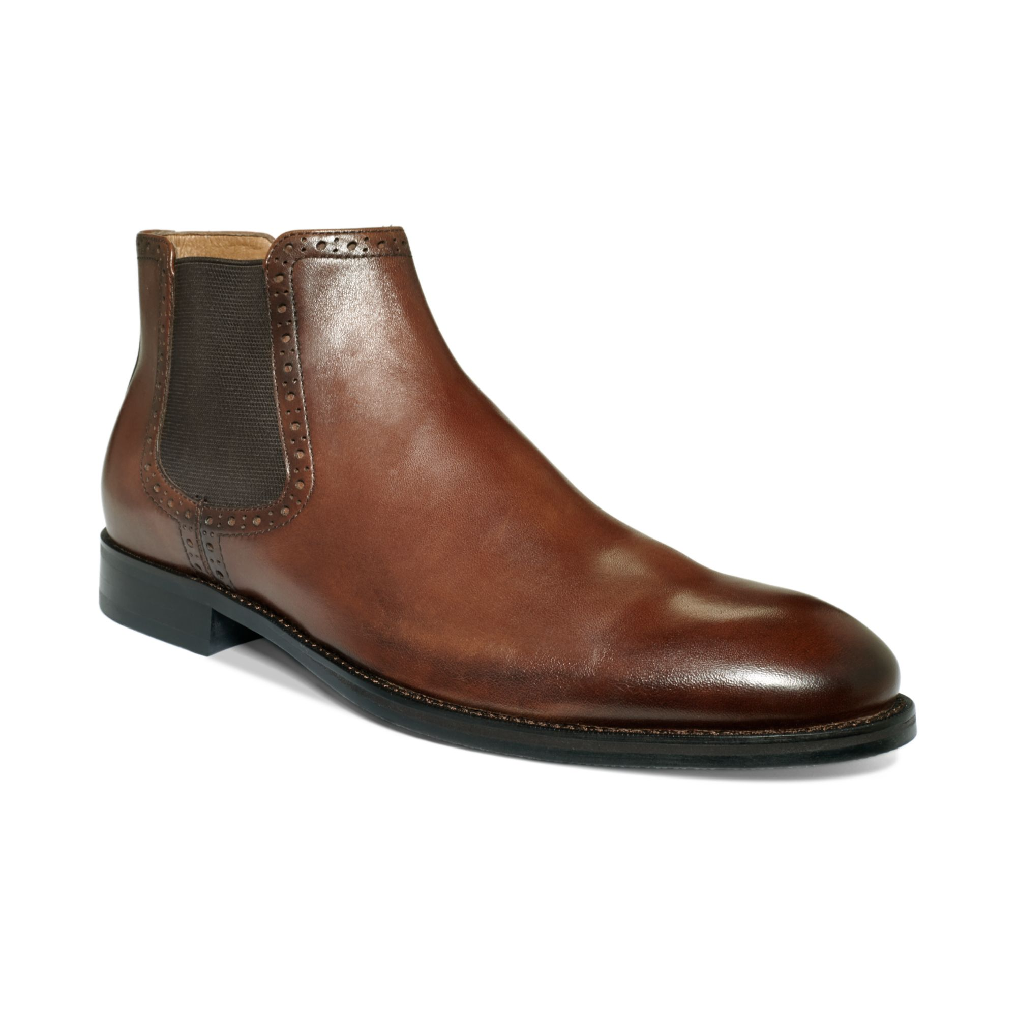 johnston murphy tyndall slipon boots in brown for