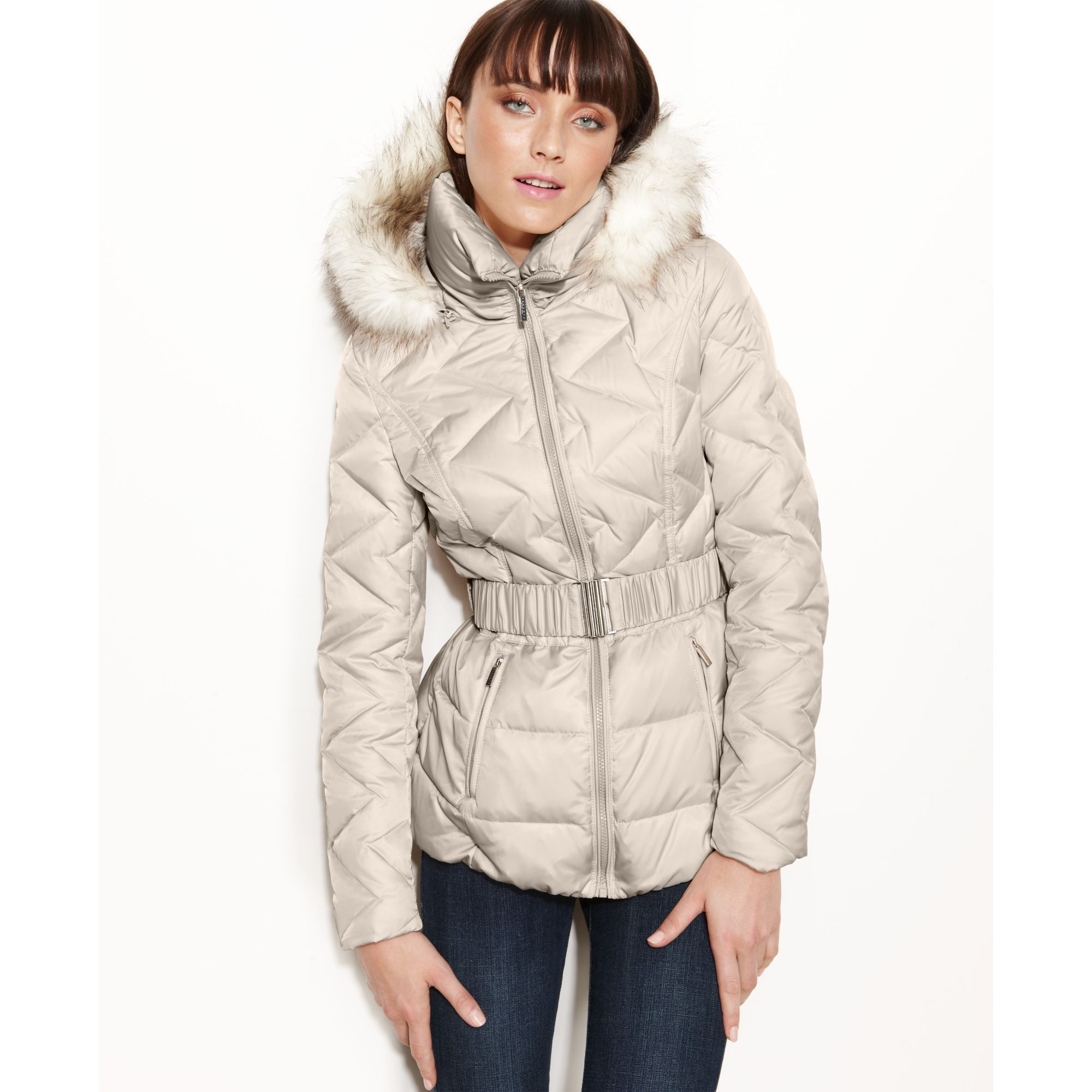 Laundry by shelli segal Faux fur trim Hooded Puffer Parka in White ...