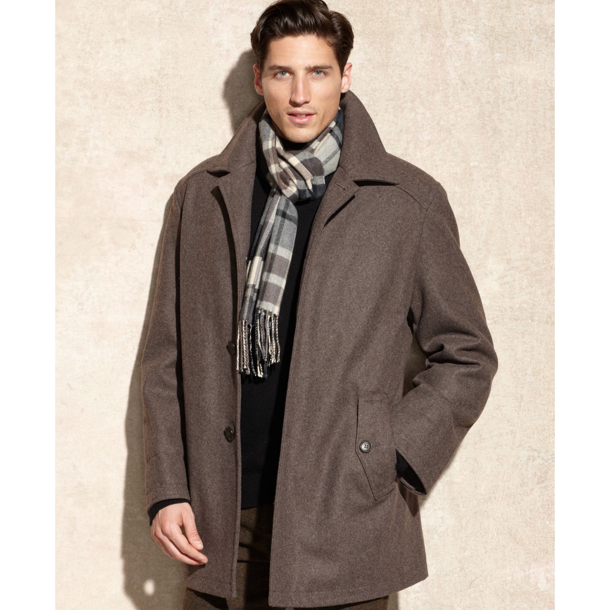 London fog Alden Wool Car Coat in Brown for Men | Lyst
