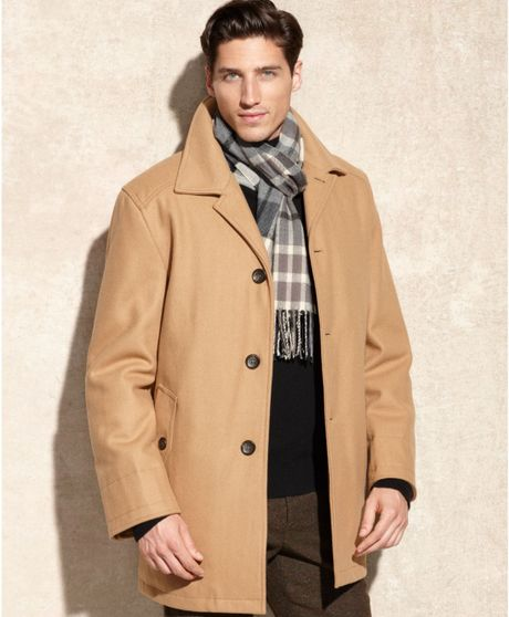 London Fog Alden Wool Car Coat In Beige For Men New Camel