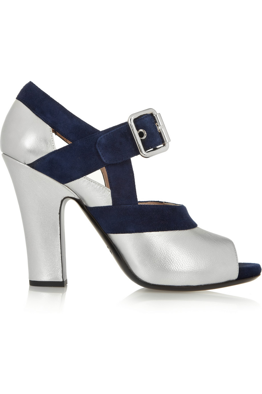 f2cb61d2fd5 Lyst - Miu Miu Metallic Leather And Suede Mary Jane Pumps in Metallic