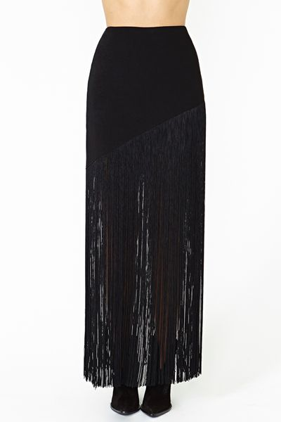 gal drifting fringe maxi skirt in black lyst