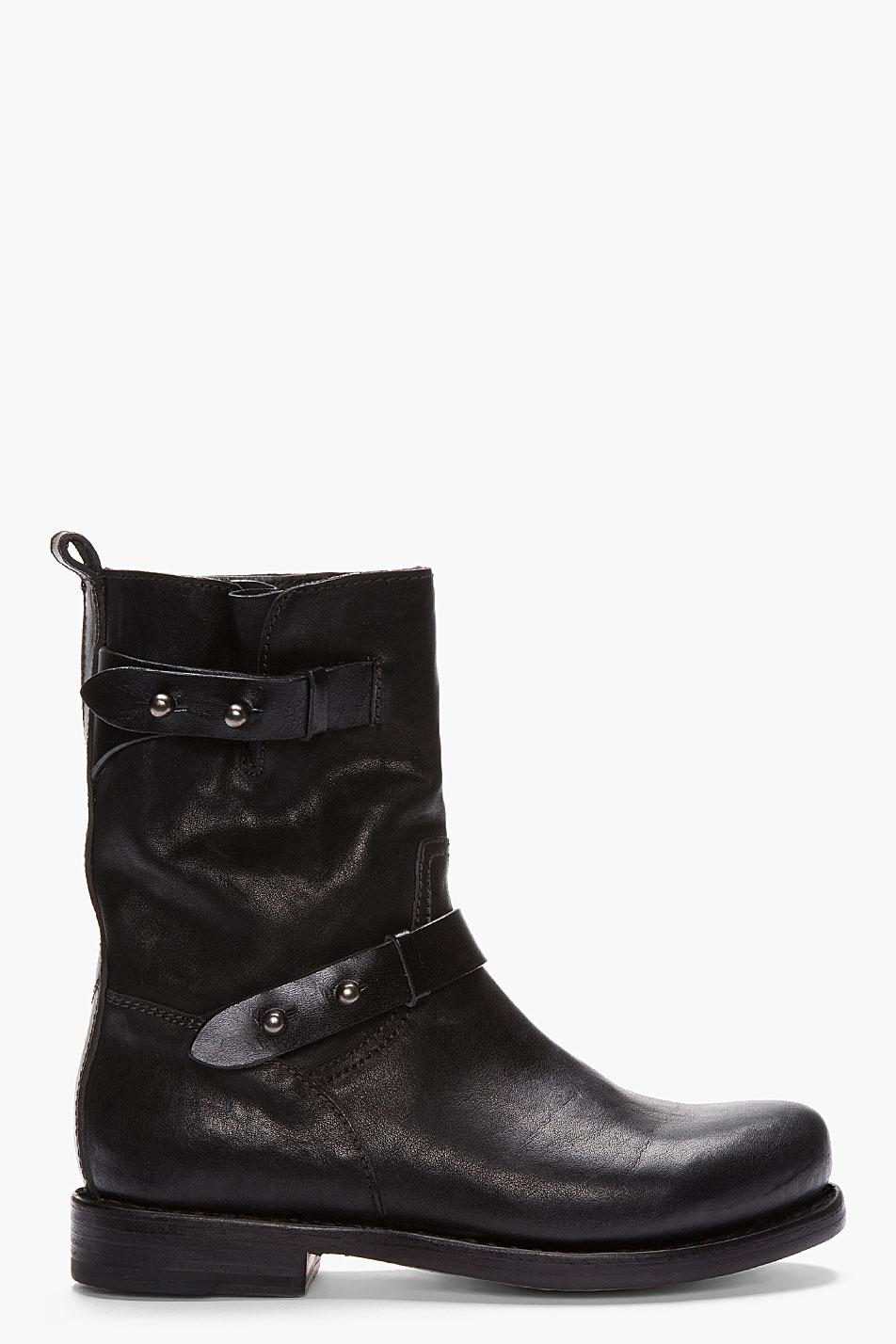 Rag Amp Bone Black Leather Moto Boots In Black Lyst