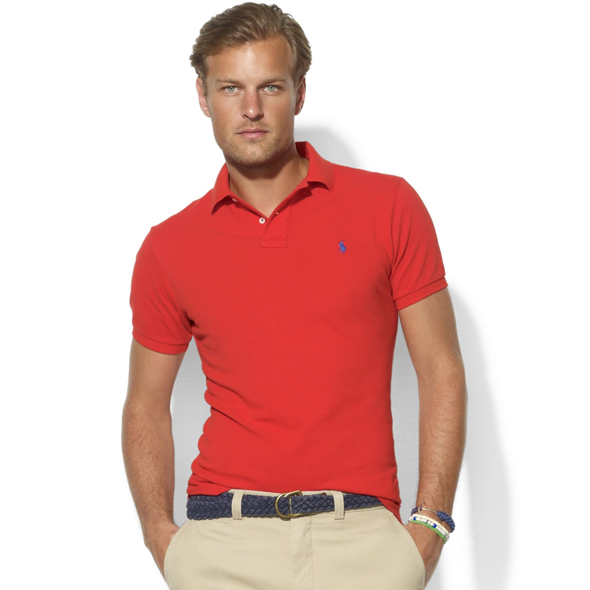Ralph lauren Custom Fit Mesh Polo in Red for Men (african red) | Lyst .