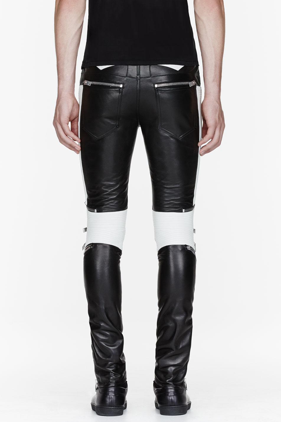 Lyst Saint Laurent Black And White Ribbed Zipped Biker
