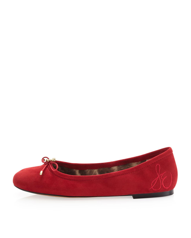 023608f7c748cb Lyst - Sam Edelman Felicia Suede Ballerina Flat Ruby Red in Red