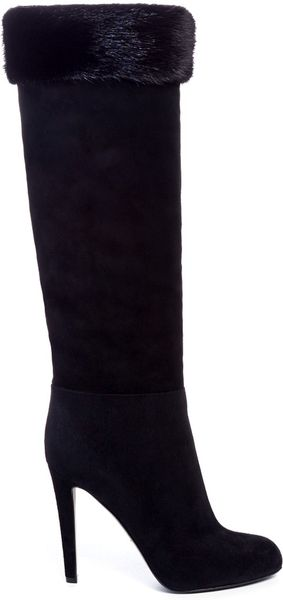 sergio fur trimmed suede boots in black lyst