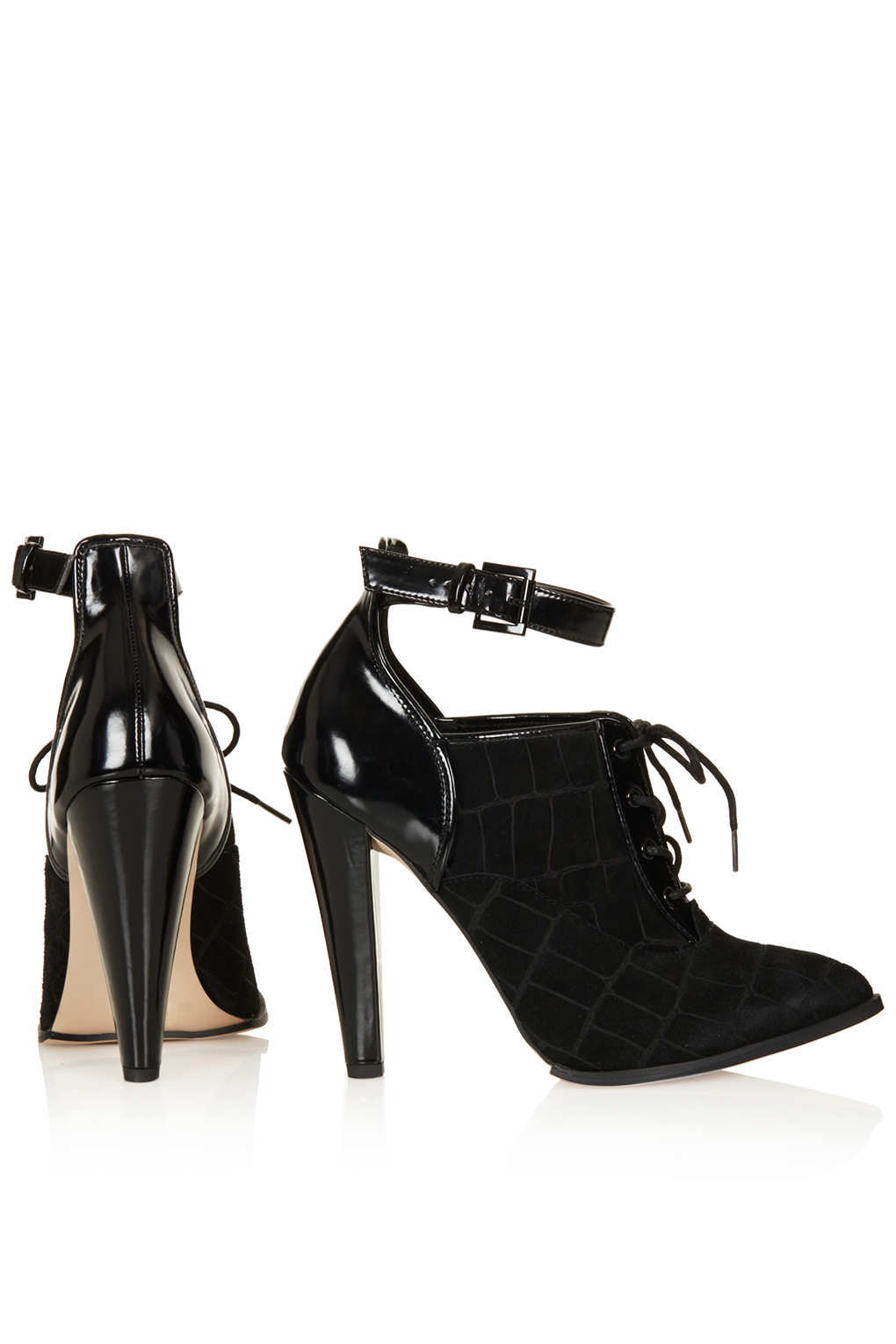 Lyst Topshop Ghoul Lace Up Shoe Boots In Black