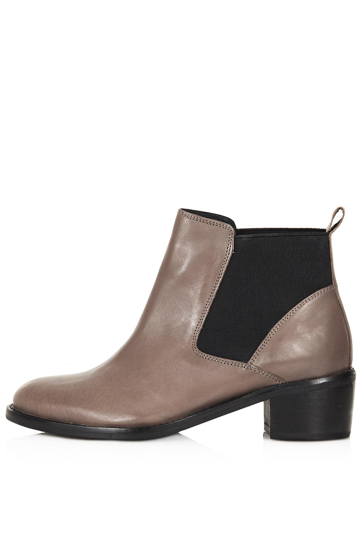 topshop affanita mid heel chelsea boots in brown lyst
