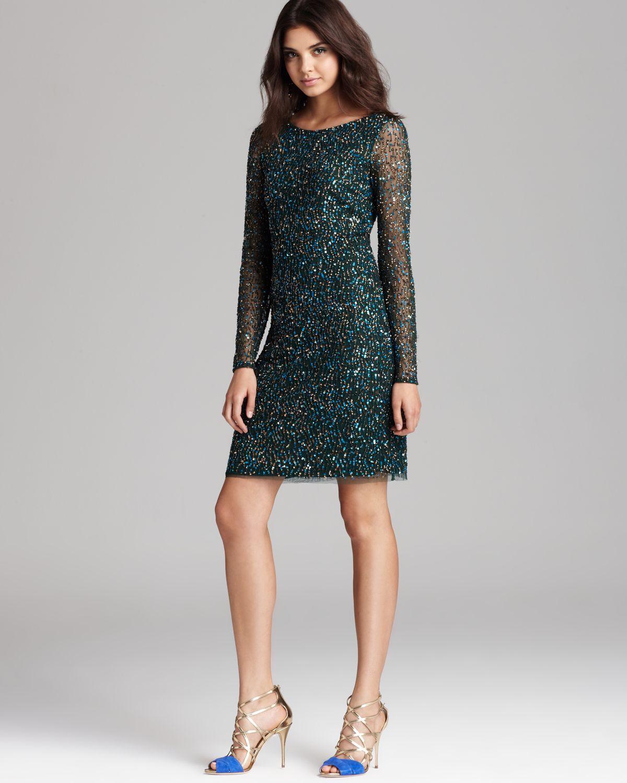 Aidan mattox Allover Sequin Dress in Green - Lyst