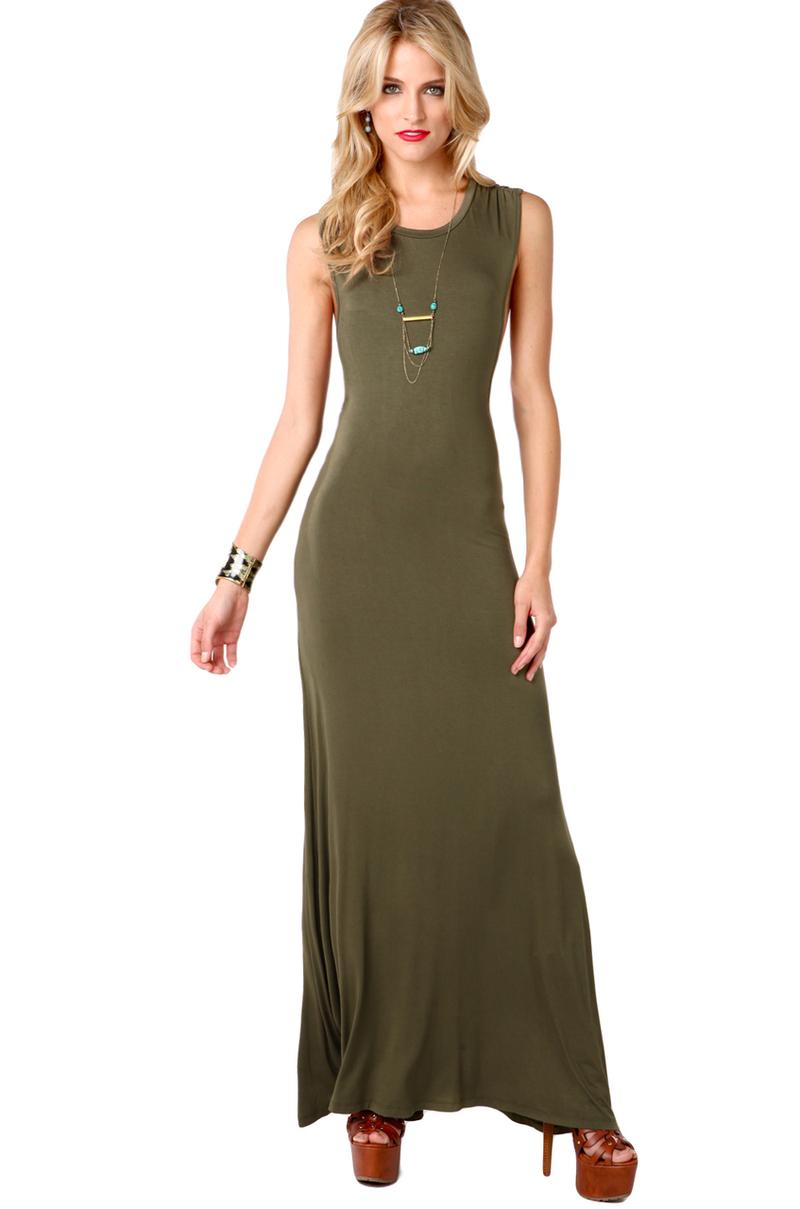 Lyst Akira Twist Back Maxi Dress In Olive In Green