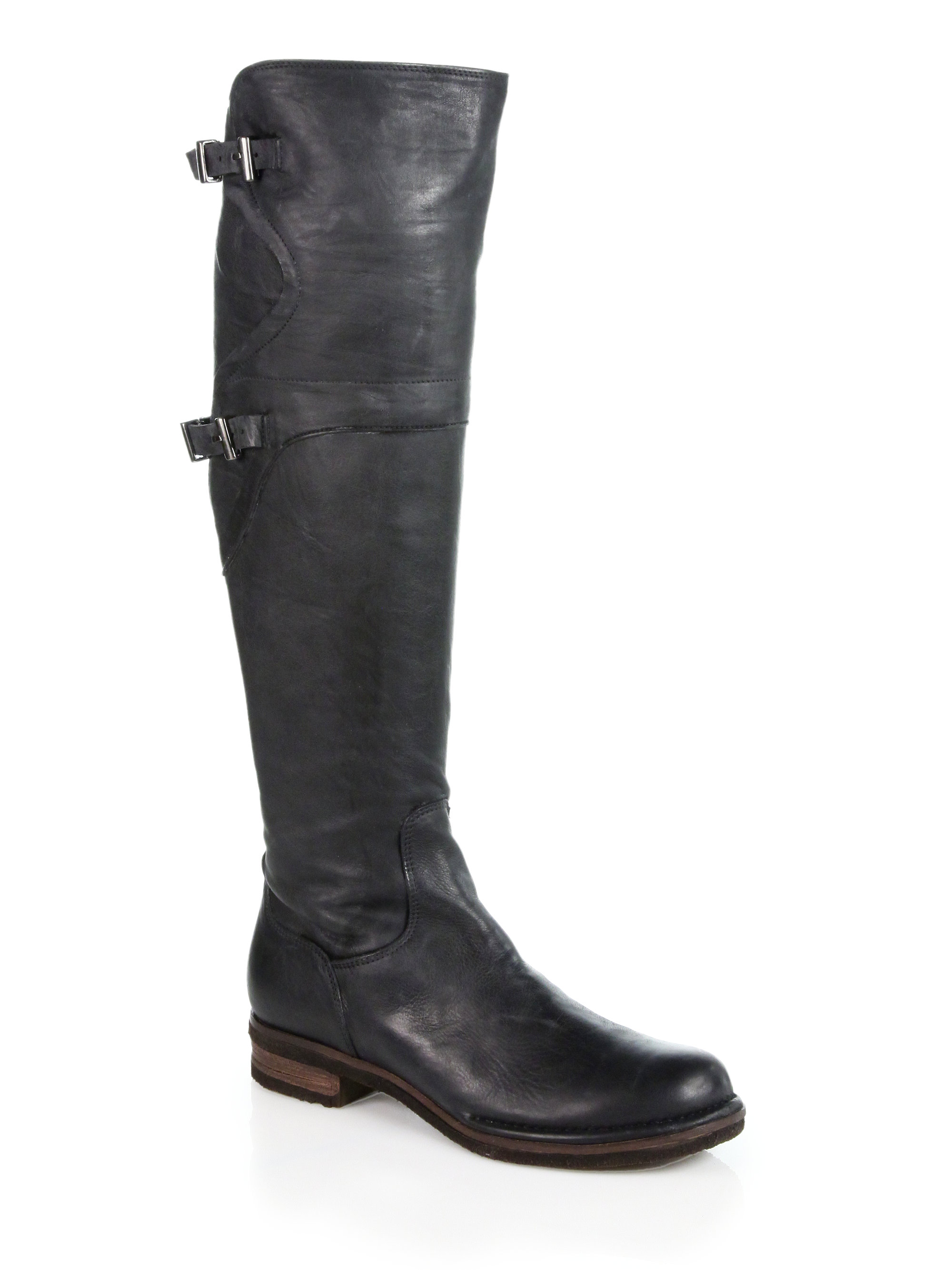 alberto fermani metro leather kneehigh boots in black lyst