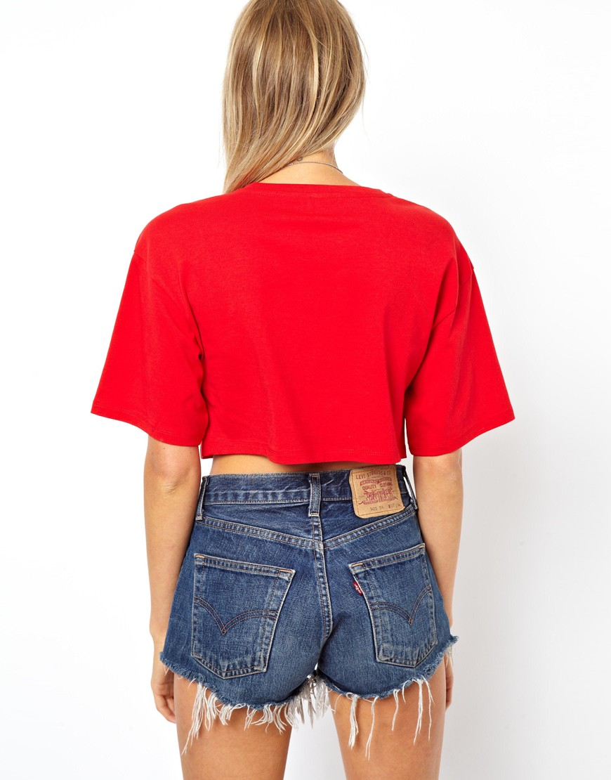 lyst asos crop t shirt with wide sleeve in red. Black Bedroom Furniture Sets. Home Design Ideas