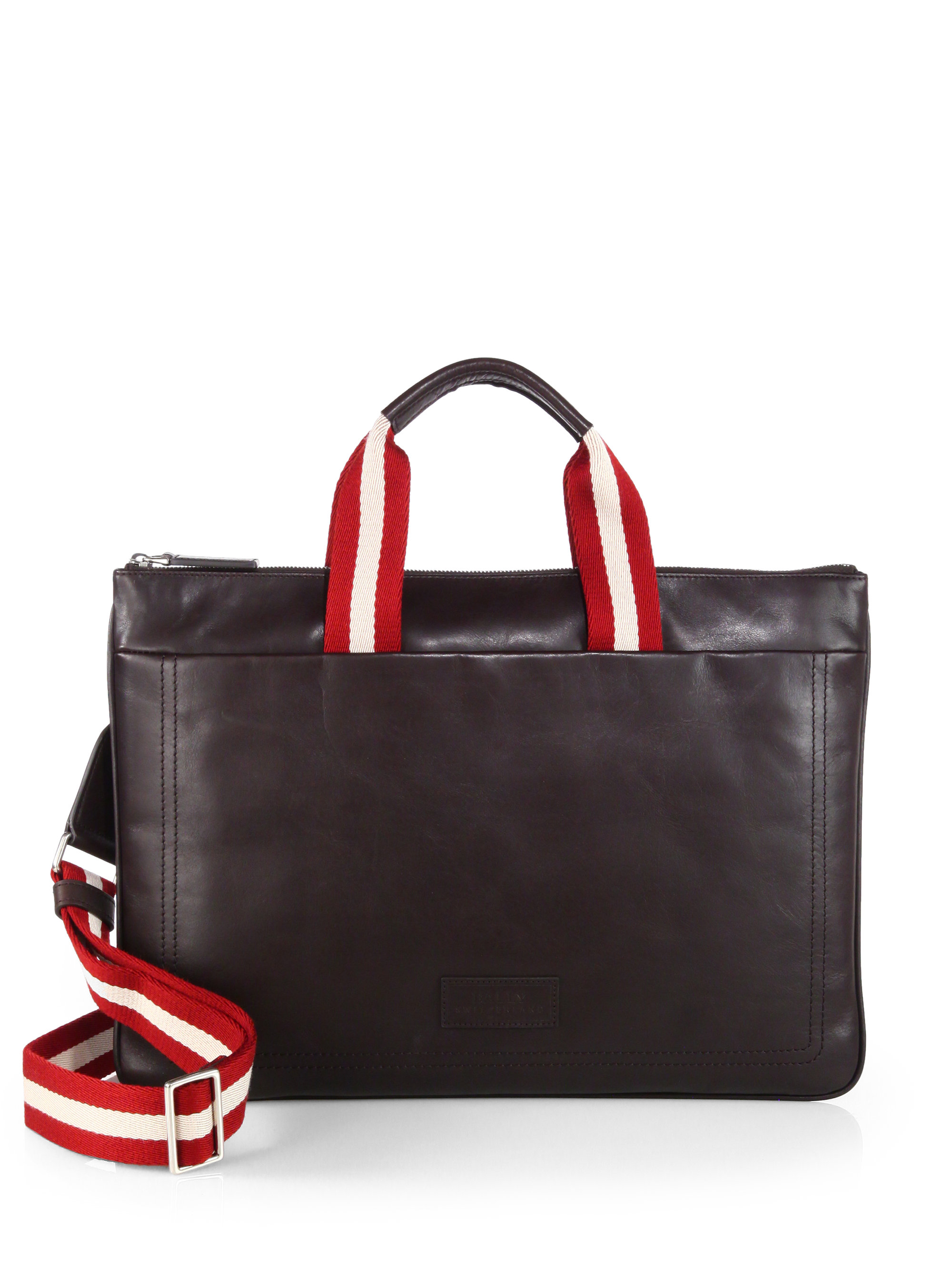 Lyst Bally Tigan Flat Leather Briefcase In Brown For Men