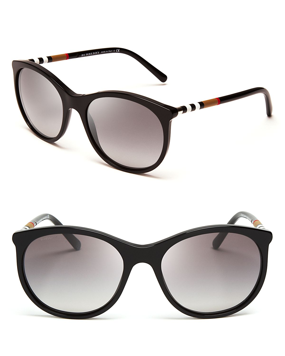 59c2d1a7759 Lyst - Burberry Classic Check Rounded Wayfarer Sunglasses in Black