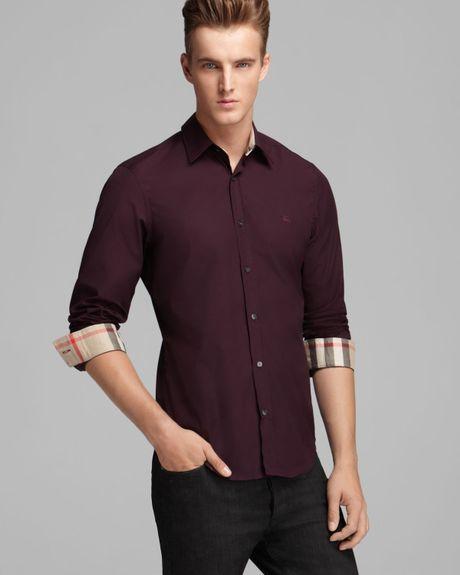 Burberry brit henry sport shirt slim fit in for men dark for Royal purple mens dress shirts